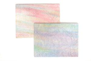 波濤の下絵を書いてパネルに貼った和紙